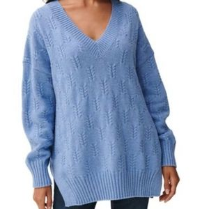 Lucky Brand Braided Knit Sweater Blue